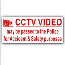 1 x External Sticker-CCTV Video Passed to Police for Accident and Safety Purposes-Red on White-Security Warning-200mmx87mm-CCTV Sign-Van,Lorry,Truck,Taxi